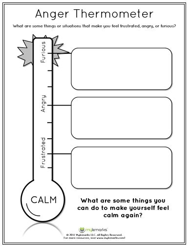 Anger Worksheets For by Anger Thermometer