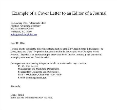 cover letter for a magazine sle cover letter for journal article
