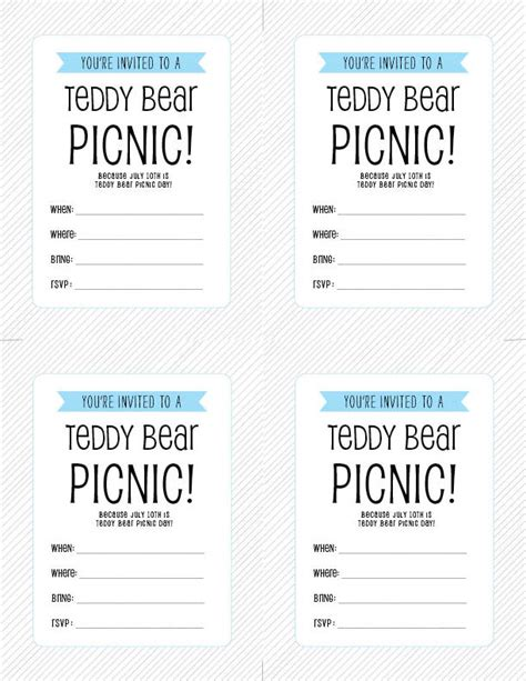 teddy picnic invitation template free printable july 10th is teddy picnic day
