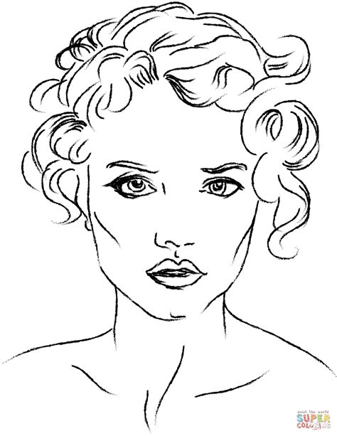 coloring pages of people s faces woman s face coloring page free printable coloring pages