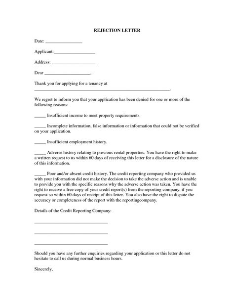 Rent Increase Rejection Letter 13 Best Rental Application Rejection Letter 5 Property Management Letters