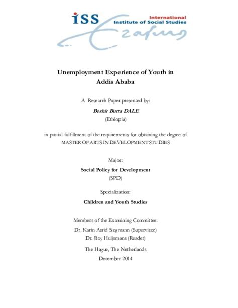 unemployment experience  youth  addis ababa