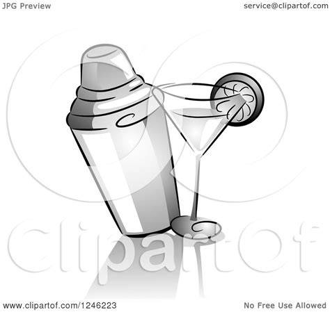 martini shaker clipart clipart of a grayscale cocktail shaker and drink royalty