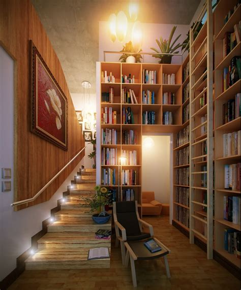 under stairs library design reading corners