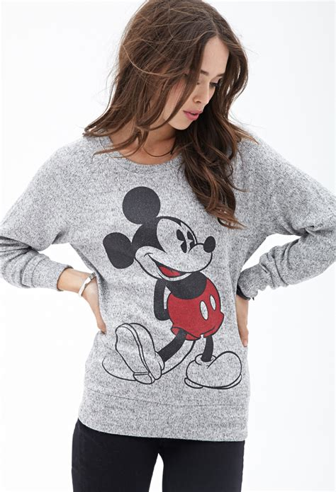St Sweater Black Mickey forever 21 marled mickey mouse sweater in gray lyst