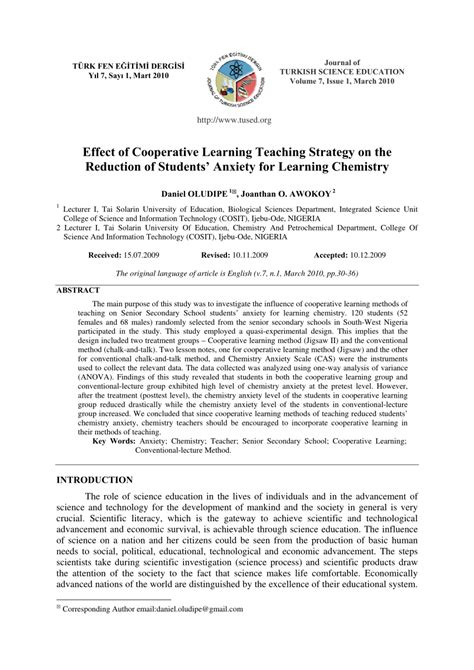 (PDF) Effect of Cooperative Learning Teaching Strategy on