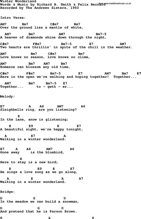 printable lyrics for walking in a winter wonderland song lyrics with guitar chords for winter wonderland the