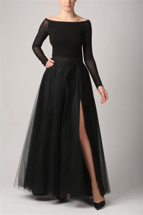 maxi tulle skirt with pockets and slit tulle skirt black