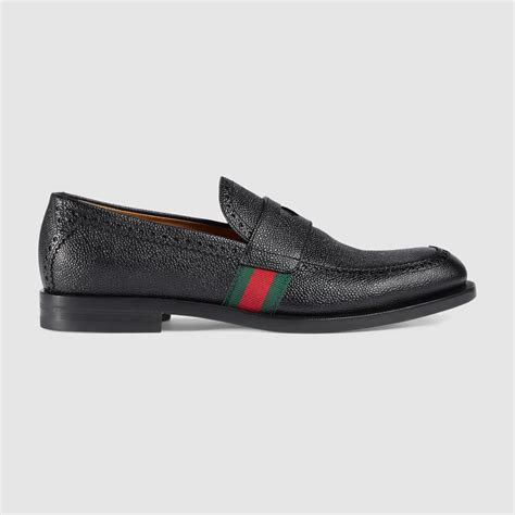 with loafers gucci leather loafer with web in black for lyst