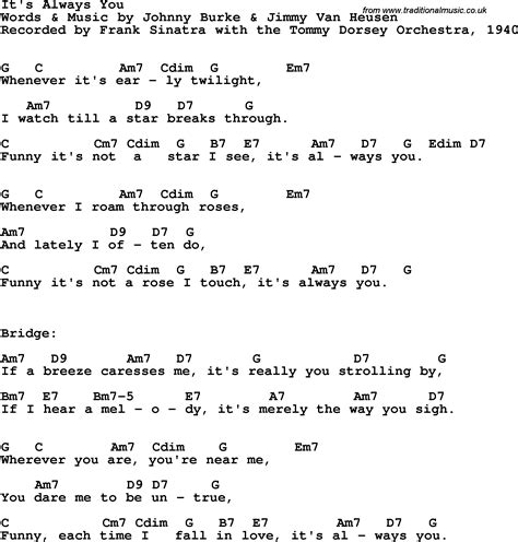 lyrics frank sinatra song lyrics with guitar chords for it s always you frank