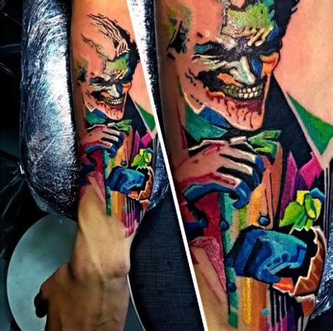 watercolor tattoo joker 90 joker tattoos for iconic villain design ideas