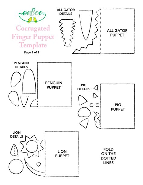 finger puppet template corrugated paper templates from eeboo templates