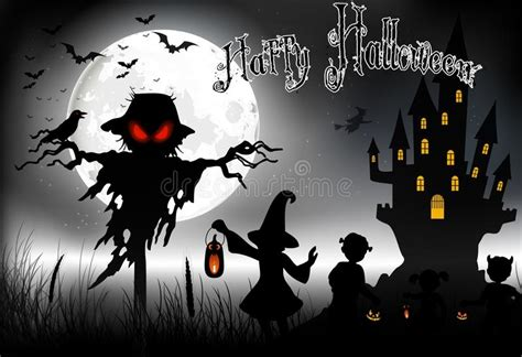 full house little girl halloween background with ghost scary house and little girls on the full moon stock