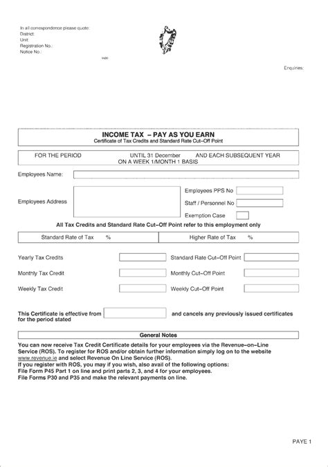 Credit Application Form Template Ireland No 39 Of 1997 Section 112 Revenue Information Note