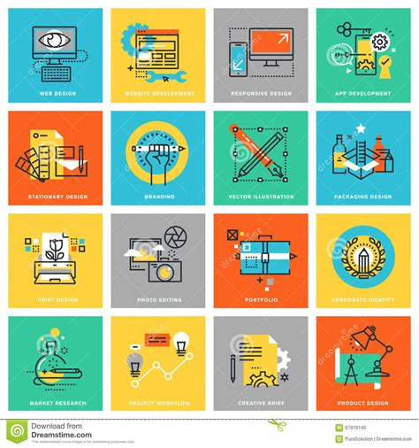 design brief of a flat modern thin line flat design icons for graphic design