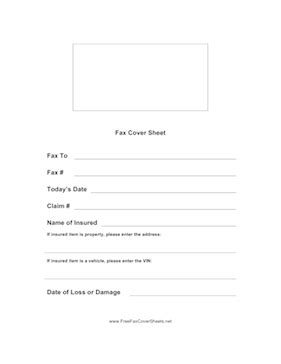 insurance claim fax cover sheet at freefaxcoversheets.net