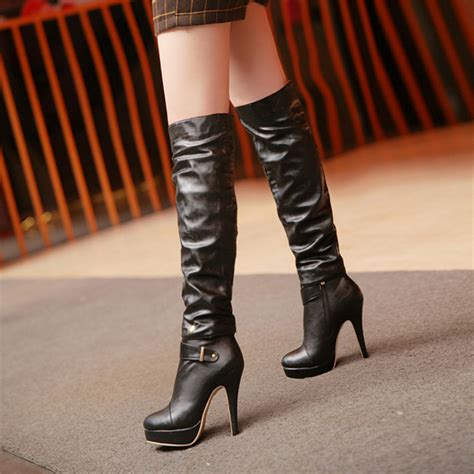 high heel motorcycle boots platform knee high designer leather boots female