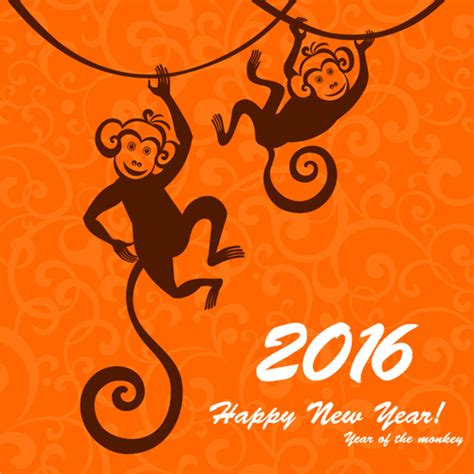 new year monkey 2016 the monkey new year design vector 04 vector