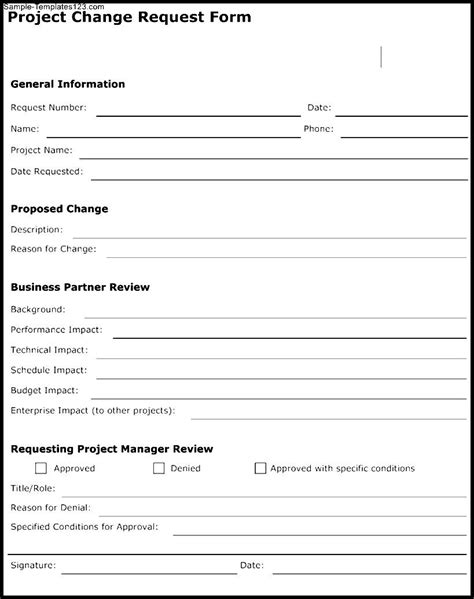 project change request form template sle templates