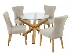 Circular Glass Dining Table And 4 Chairs Solid Oak Living Room Furniture Next Home Interior Paint Design Ideas