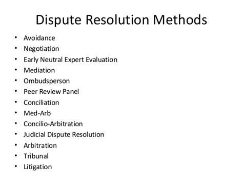 Mba Vs Mpm by Dispute Resolution Methods