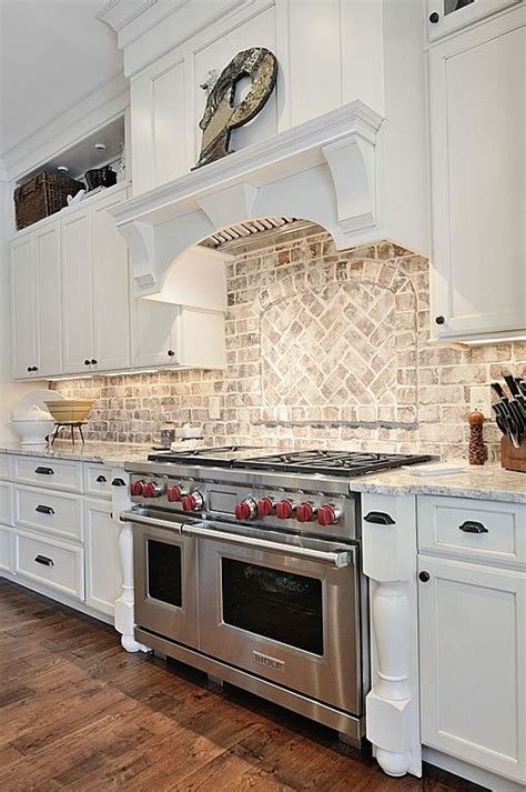 brick tile backsplash kitchen country kitchen like the light brick back splash kitchen stove cabinets and