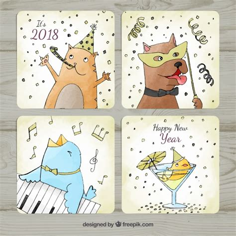 new year 2018 date animal watercolor new year 2018 cards with animals vector free
