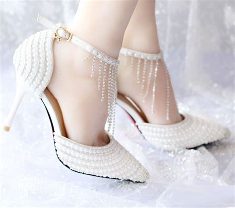 bridal sandals with pearls wedding shoes bridal pumps glitter white pearls