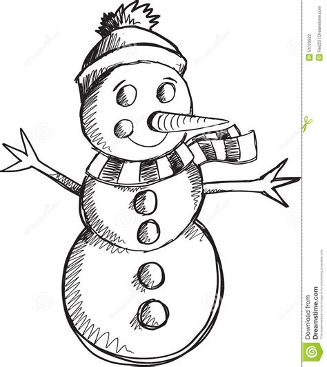 doodle dawg sketch draw color doodle snowman vector stock vector image of doodle cold