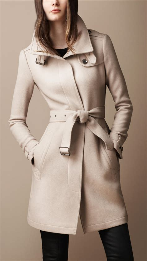 Wool Belted A Line Coat From Ms by Lyst Burberry Belted Collar Wool Coat In