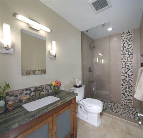 asian inspired river rock bathroom remodel