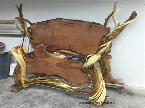 Handmade Unique - rustic log bed unique wood juniper live edge
