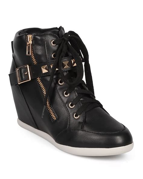 studded sneaker wedges 55 leatherette studded buckle zip
