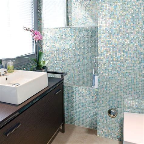 bathroom wall tiles 40 blue glass mosaic bathroom tiles tile ideas and pictures