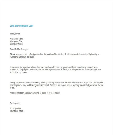 Bank Letter Of Resignation 30 Simple Resignation Letters Free Premium Templates
