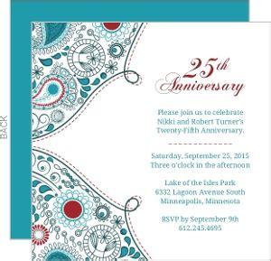 25th Wedding Anniversary Card Designs by 25th Anniversary Invitations
