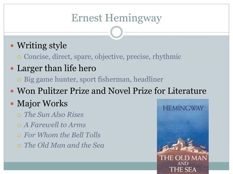 ernest hemingway biography presentation ppt modernism 1915 1945 powerpoint presentation id