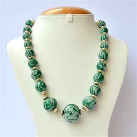Handmade Necklace - handmade necklace with green blend of