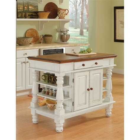 Moveable Kitchen Island Americana Antique White Sanded Distressed Kitchen Island