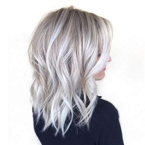 grey hair on mid length hair picture of medium length silver blonde hair with waves for