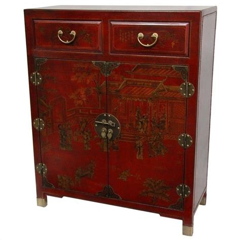 oriental accent l company oriental furniture accent chest in red lq cab1 red