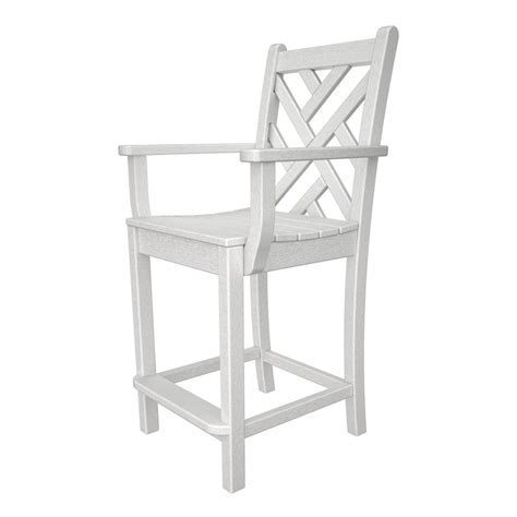 White Plastic Patio Chairs Shop Polywood Chippendale White Plastic Patio Barstool Chair At Lowes