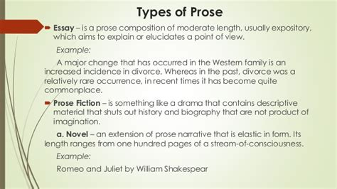 exle of prose literature and its types