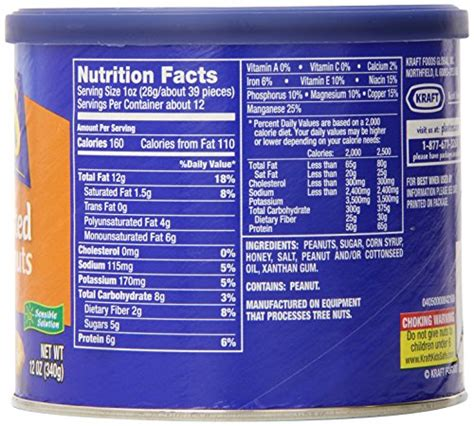 Planters Peanuts Nutrition Facts by Planters Roasted Peanuts Nutritional Information