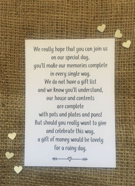 Wedding Money Poem, polite way of asking for money rather