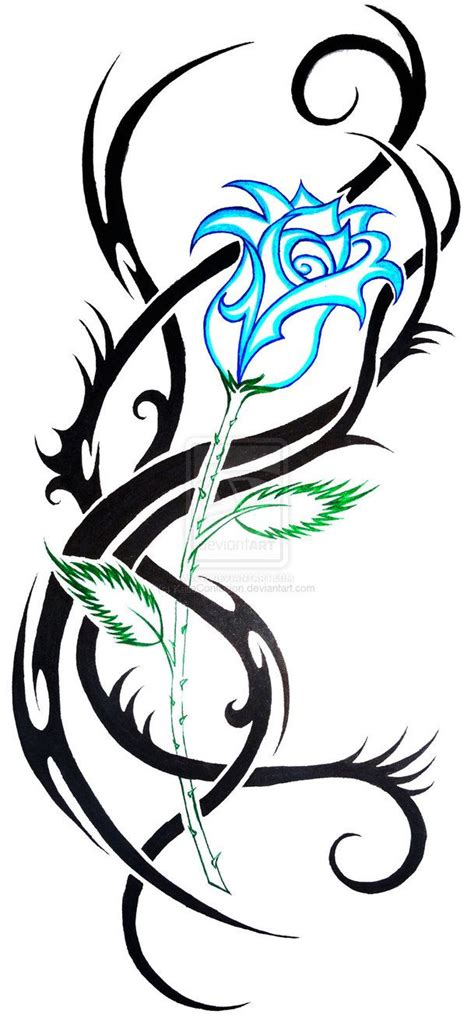 roses with tribal tattoos blue tribal by katieconfusion on deviantart