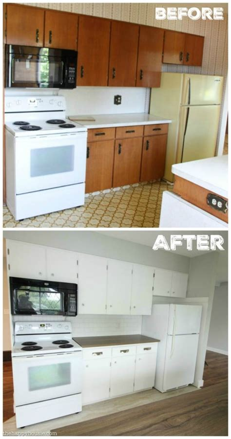 Benjamin Moore Simply White Kitchen Cabinets by Super Thrifty Budget White Kitchen Makeover Reveal The