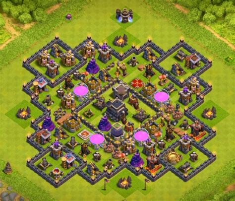 th9 layout new update town hall 9 farming base with bomb tower cocbases