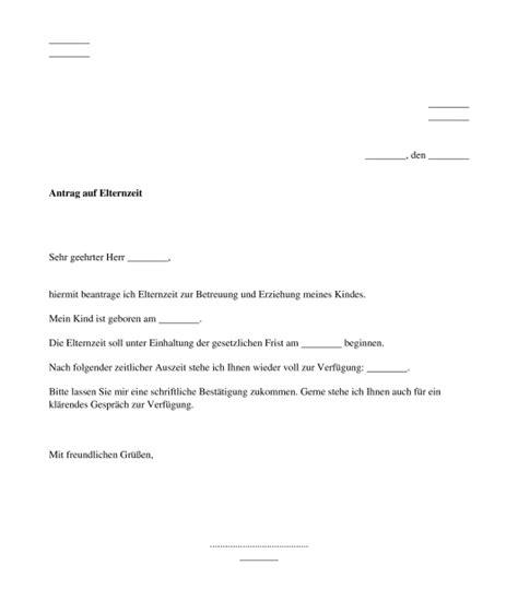 antrag auf elternzeit muster vorlage word und pdf