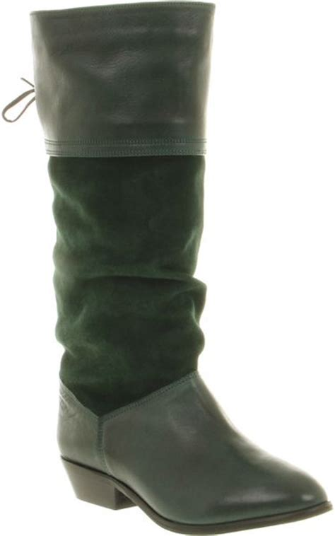 office jani slouch boot green leather suede in green lyst